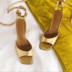 By FAR Maye Leather Ankle Wrap Heels Gold Sz 6